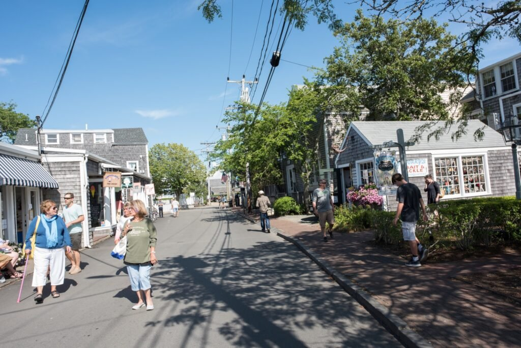 Tourists and residents walking through Martha's Vineyard.