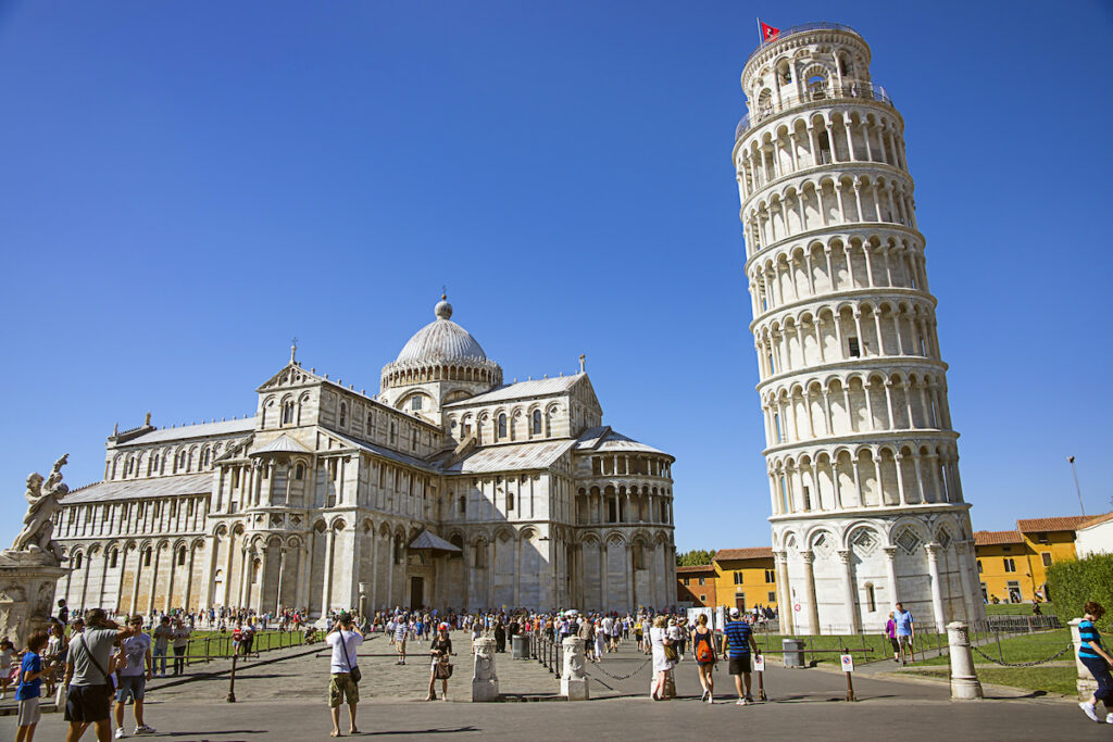 Tourists arriving at the Tower of Pisa.
