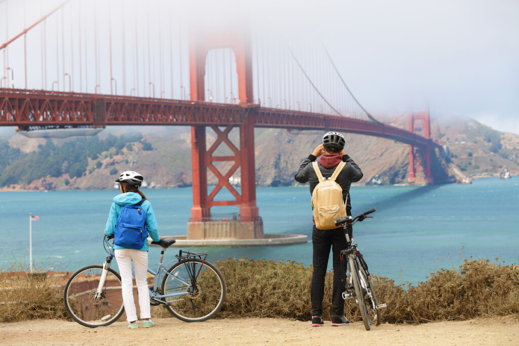 Tourists at the Golden Gate Bridge in San Francisco.