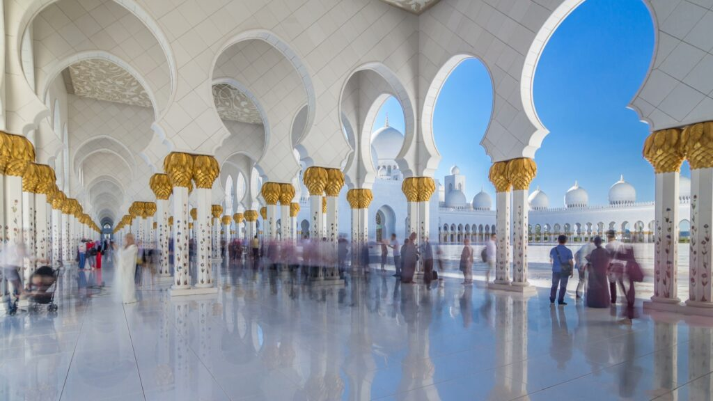 Tourists at the Sheikh Zayed Grand Mosque.