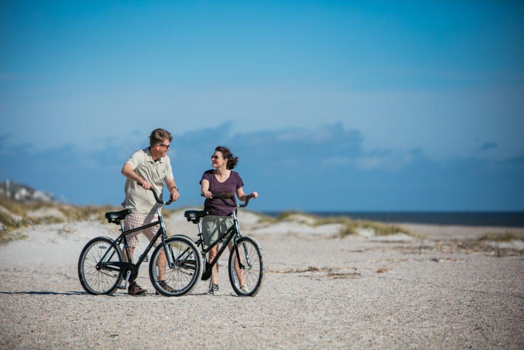 Tourists biking on Amelia Island.