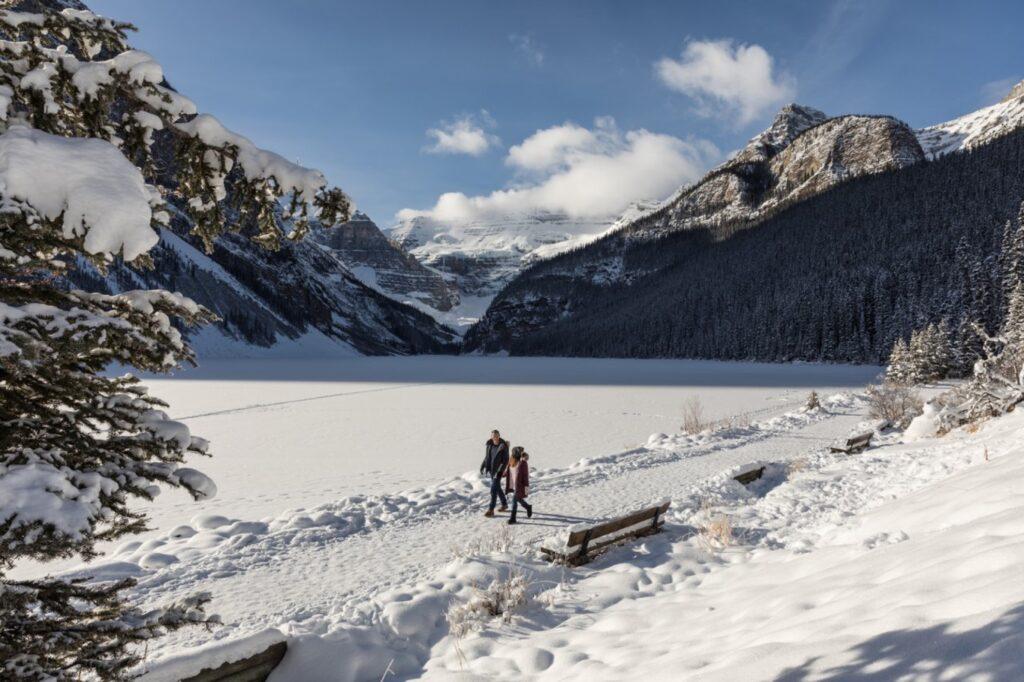Tourists enjoying a walk through Banff.