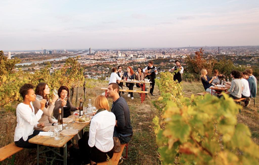 Tourists enjoying wine in Vienna.