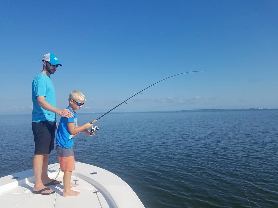 Tourists fishing in North Carolina.