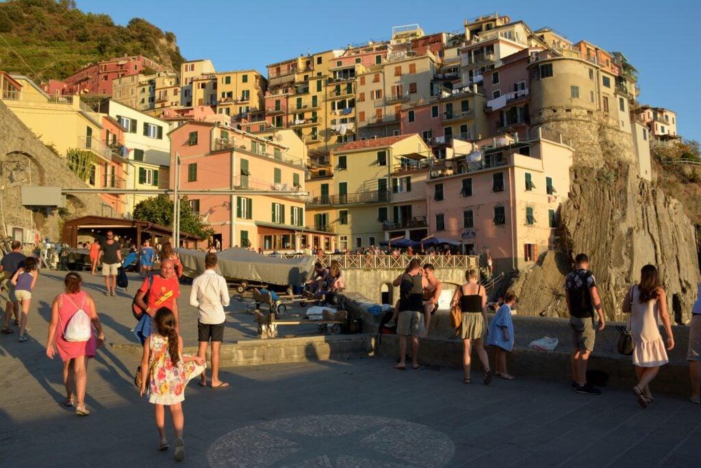Tourists in Cinque Terre, Italy.