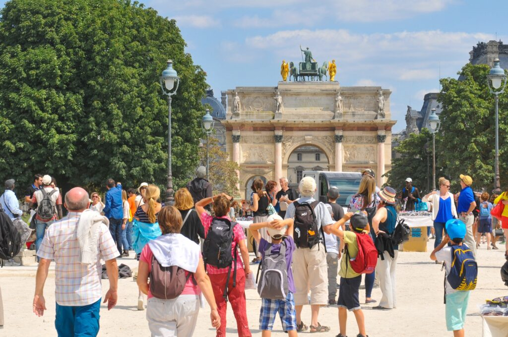 Tourists in Paris, France.