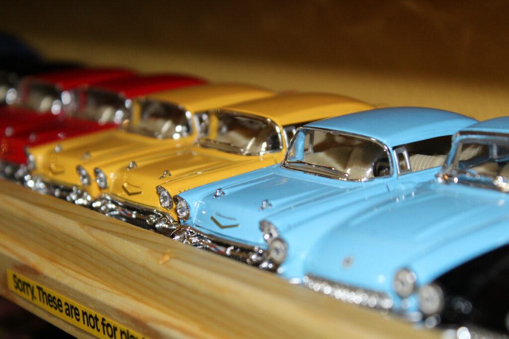 Toy cars at LARK Toys in Kellogg, Minnesota.