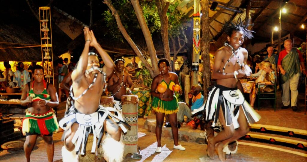 Traditional dancers at Boma