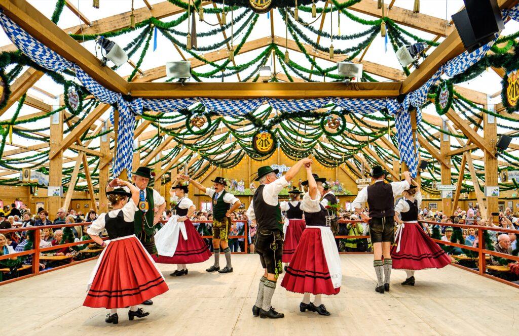 Traditional German dancing at Oktoberfest.