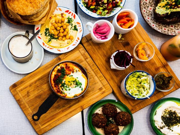 Traditional vegetarian Israeli feast