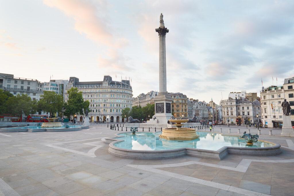 Trafalgar Square in London.