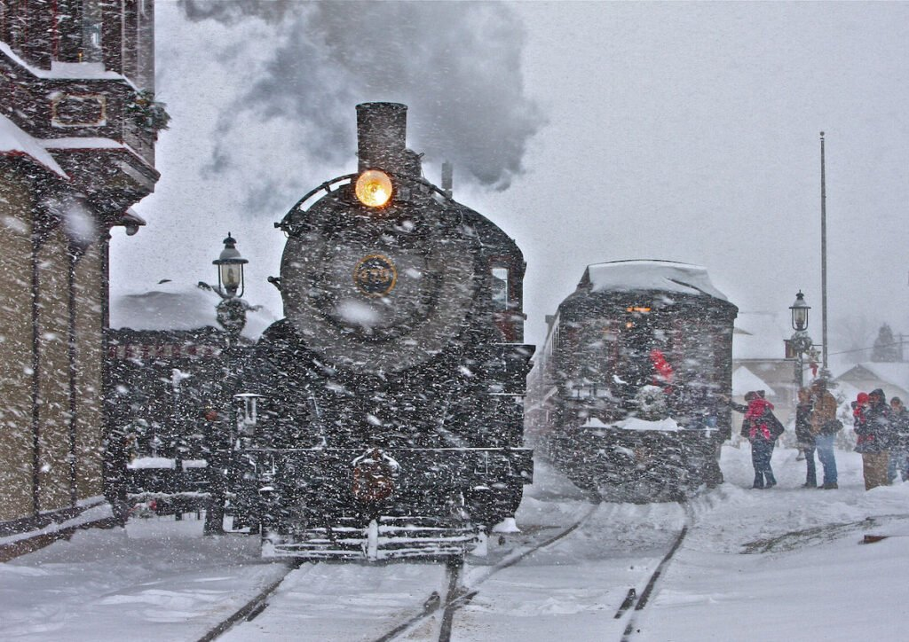 Train rides during the winter in Strasburg.