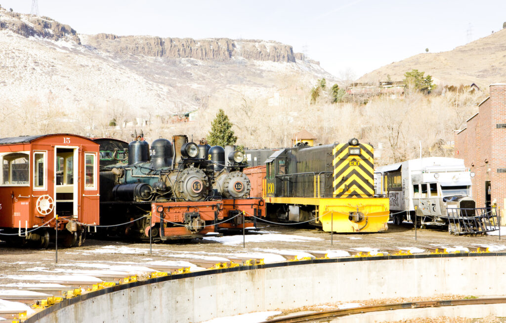 Trains on exhibit at the Colorado Rail Museum.