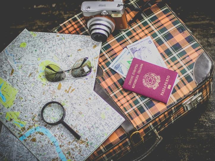 Travel essentials map passport