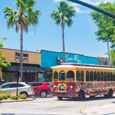 Trolley in downtown Dunedin, Florida.