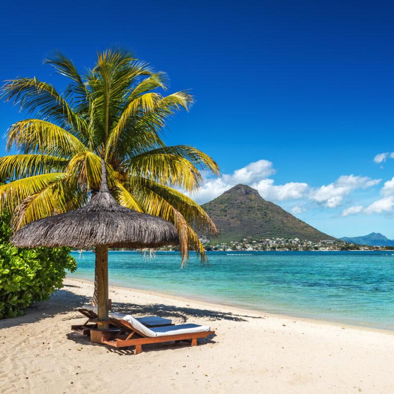 Tropical beach views in Mauritius.