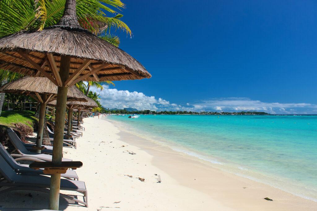 Tropical beach views on Mauritius.