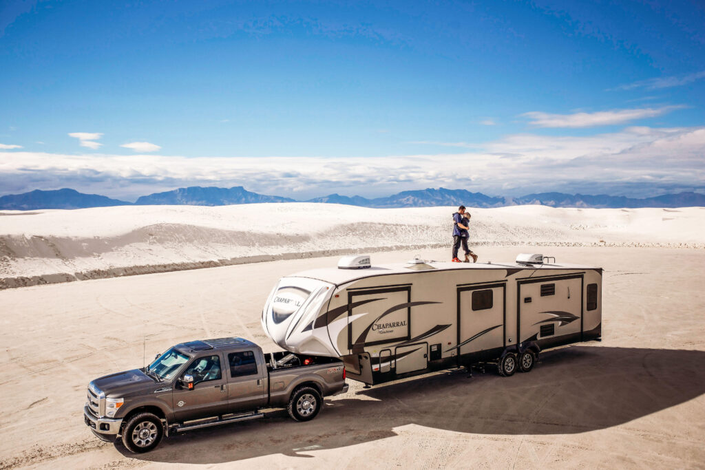 Truck and RV in the desert