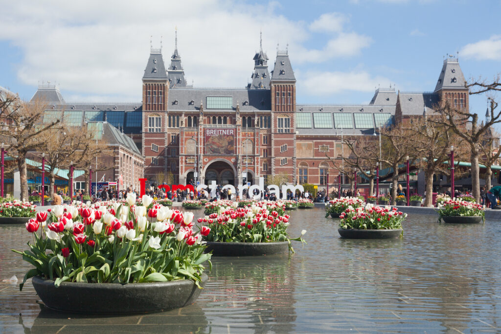 Tulips at the Rijksmuseum in Amsterdam, Netherlands, during April.