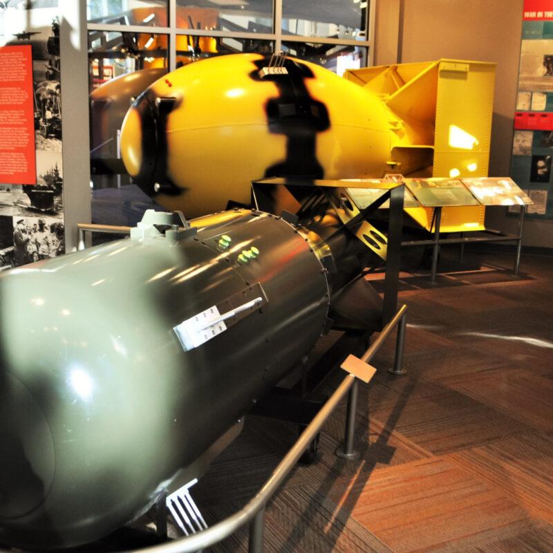Two atomic bomb replicas at Los Alamos, New Mexico.
