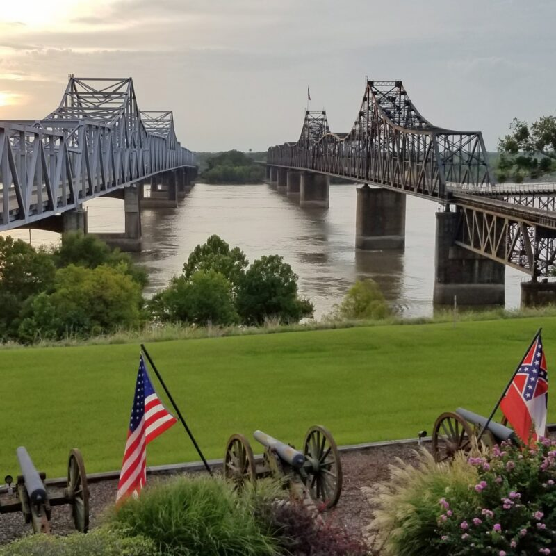 Two bridges crossing the Mississippi River in Vicksburg.