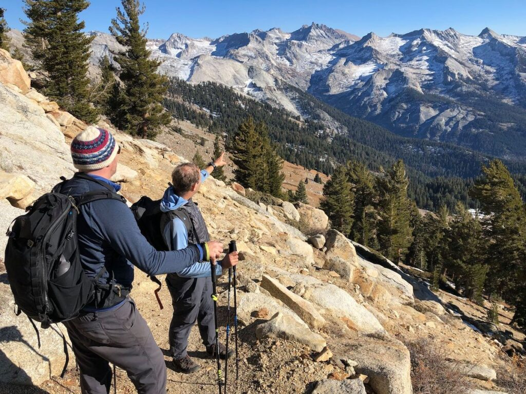 Two hikers in Sequoia National Park.