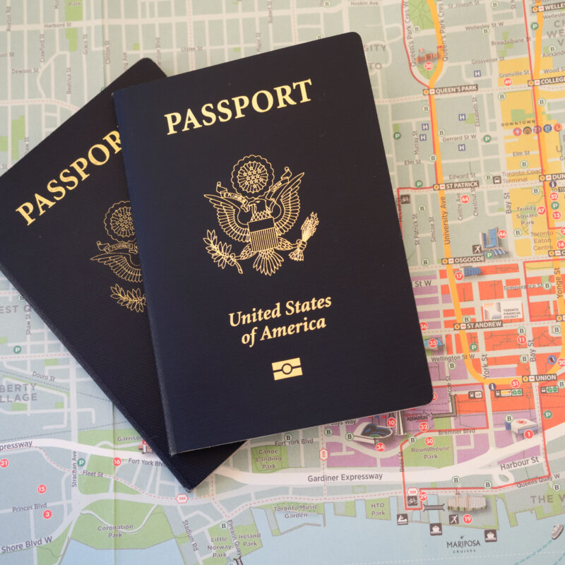 Two passports and a map.