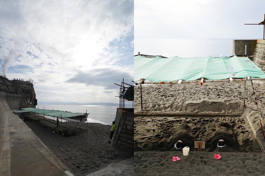 Two photos from Healthy Land Tamatebako spa.