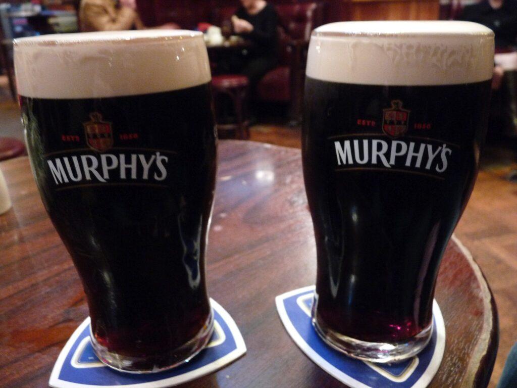 Two pints of Murphy's Irish Stout.
