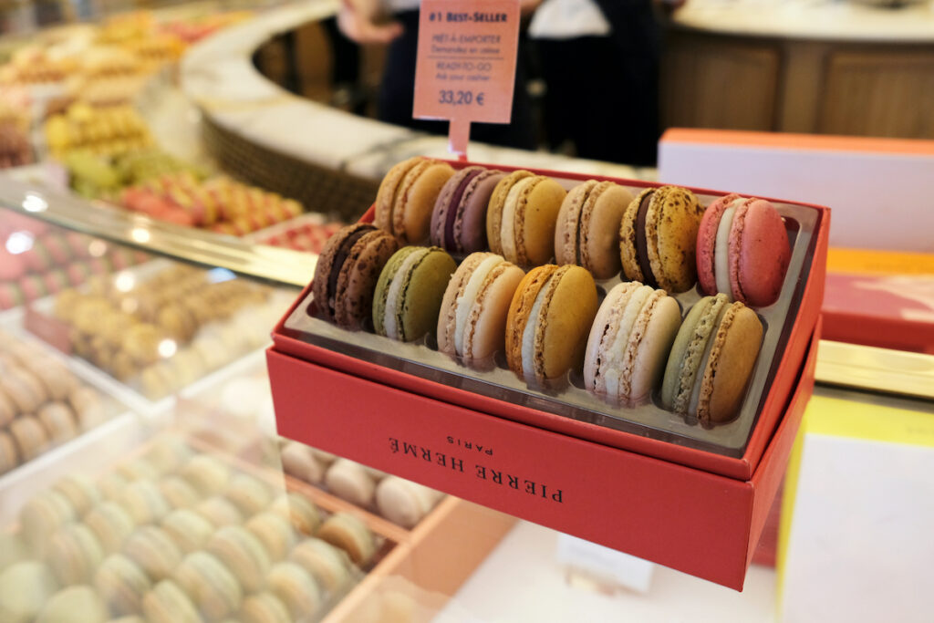 Two rows of macarons at Pierre Herme.