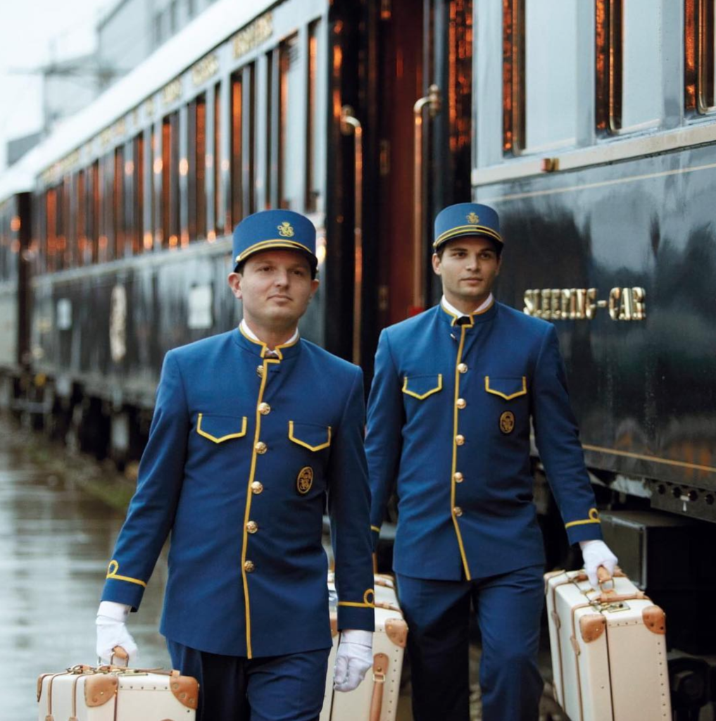 Two staff members from the Orient Express.