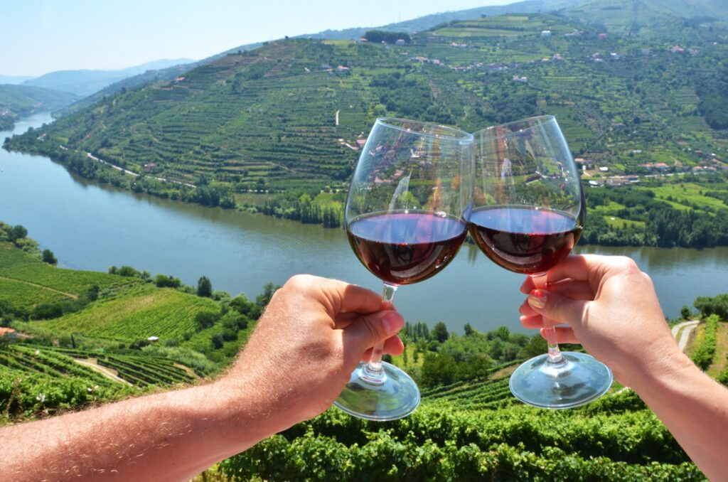 Two tourists drinking wine in Douro Valley.