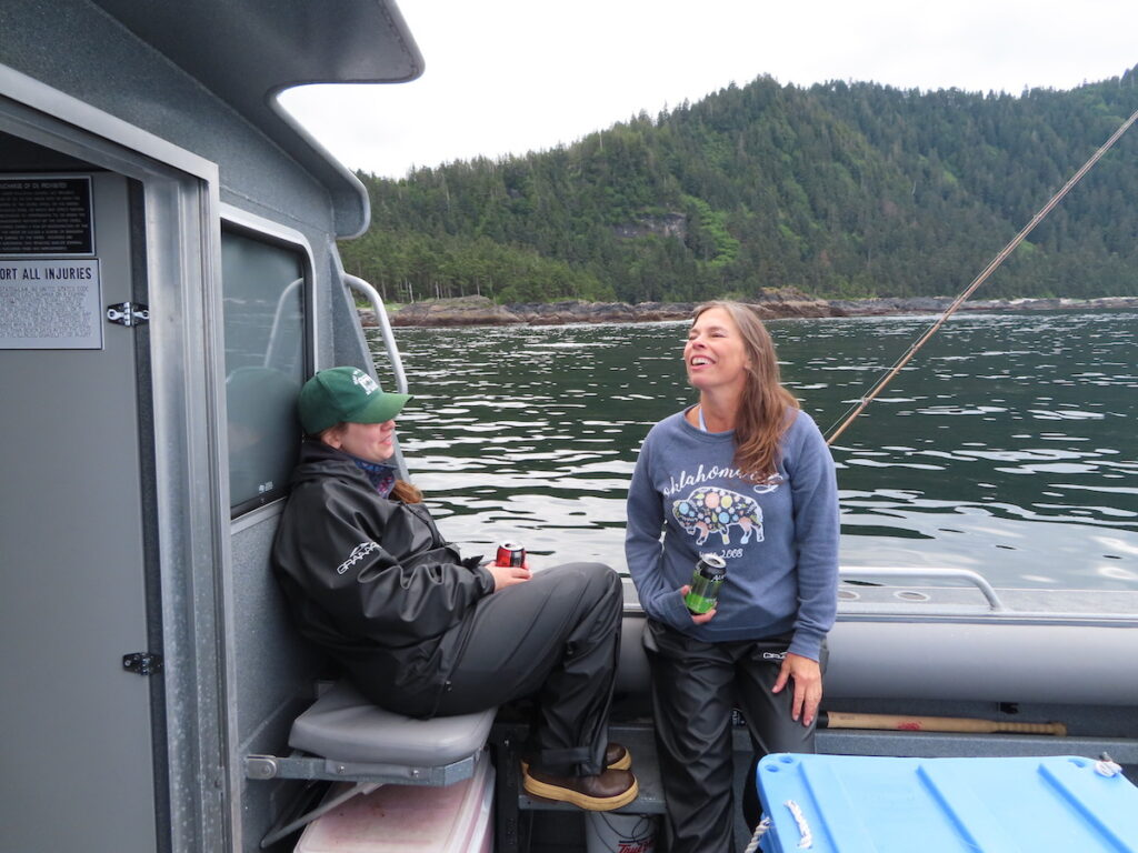 Two women on a fishing trip in Alaska.