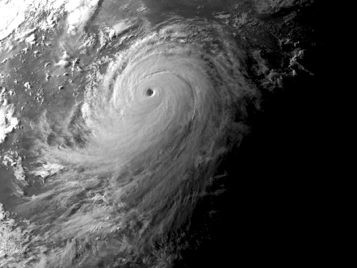 Typhoon seen from space.