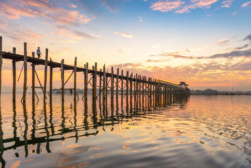 U Bein Bridge in Amarapura, Myanmar.