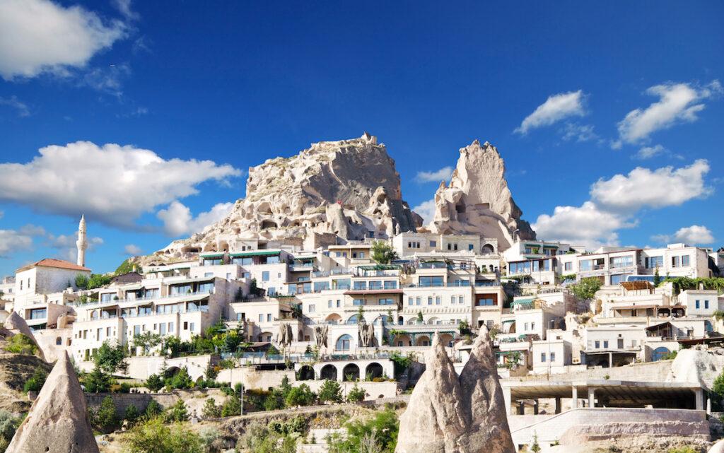 Uchisar Castle in Cappadocia, Turkey,