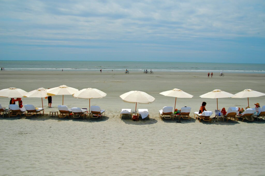 Umbrellas on a beach in Kiawah Island, South Carolina.