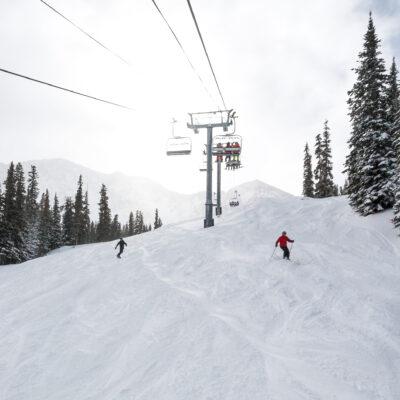 Uncrowded ski slopes in Winter Park, Colorado.