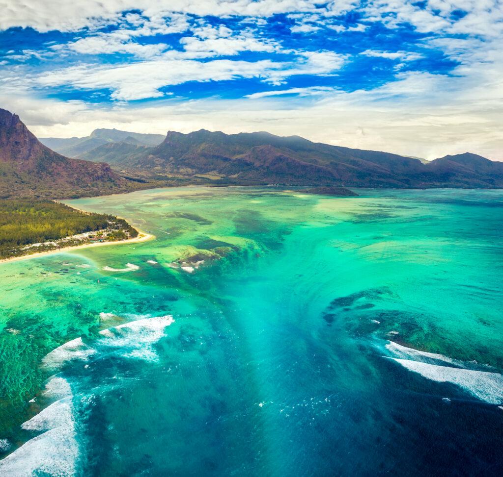 Underwater waterfall, Mauritius, Indian Ocean.