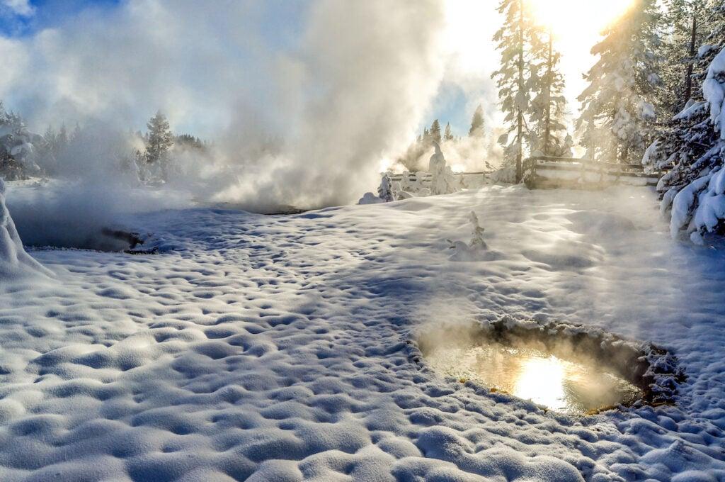 Upper Geyser Basin at Yellowstone during winter.