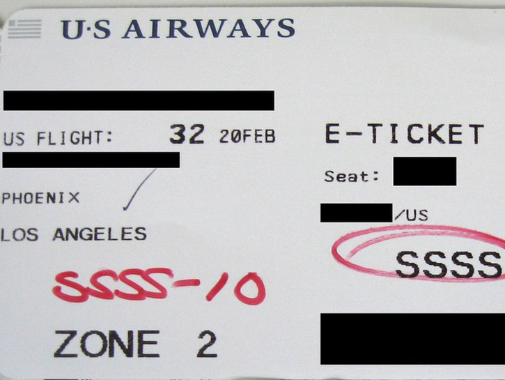 US Airways ticket with SSSS on it