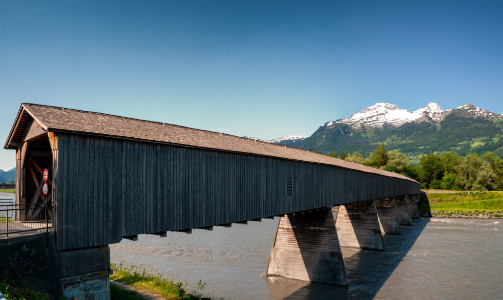 Old Rhine Bridge in Vaduz, Liechtenstein.