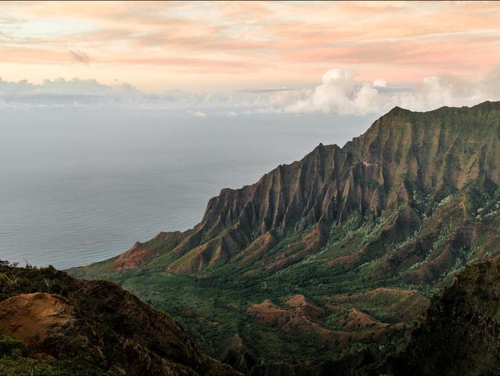 Valley onto the ocean, Kauai, Hawaii