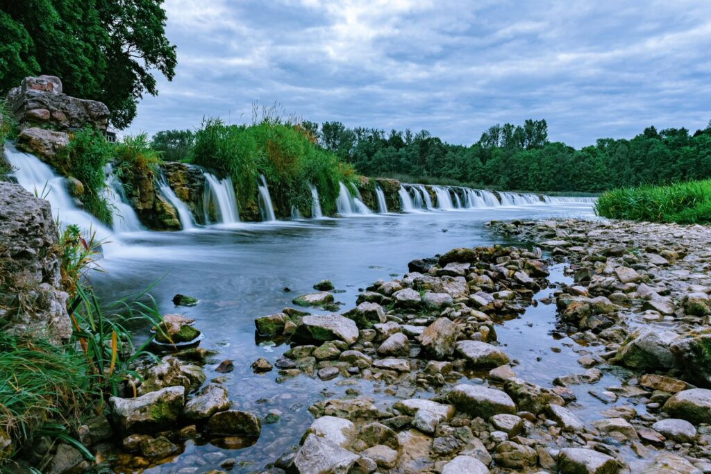 Venta Rapid Waterfall in Kuldiga, Latvia.