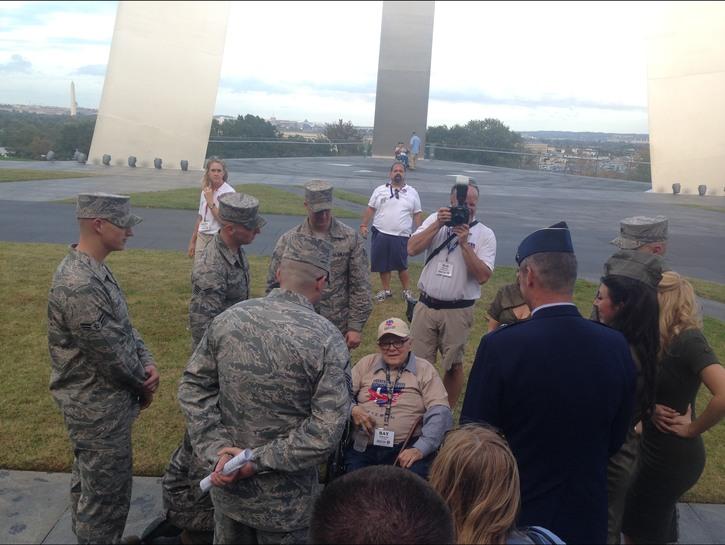Veteran meets soldiers at the Air Force Memorial.
