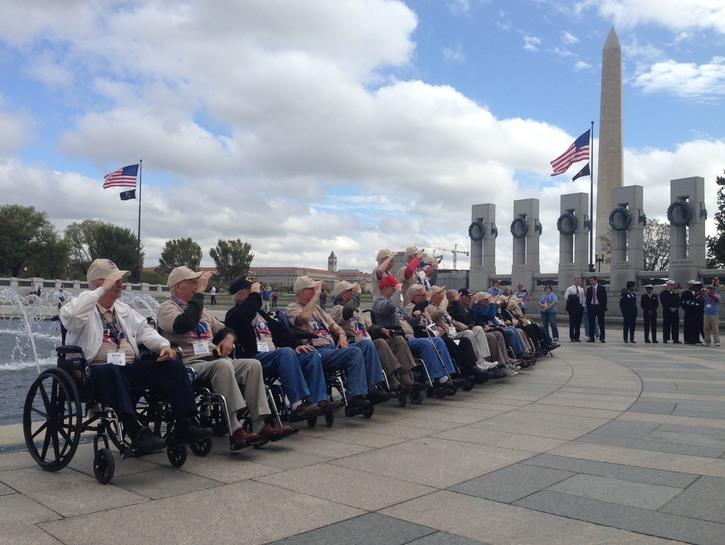 Veterans at World War II Memorial.