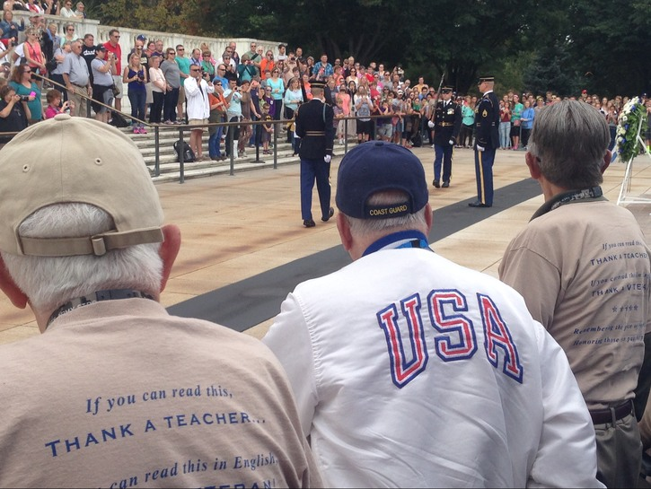 Veterans watch the changing of the guard at the Tomb of the Unknown. Soldier