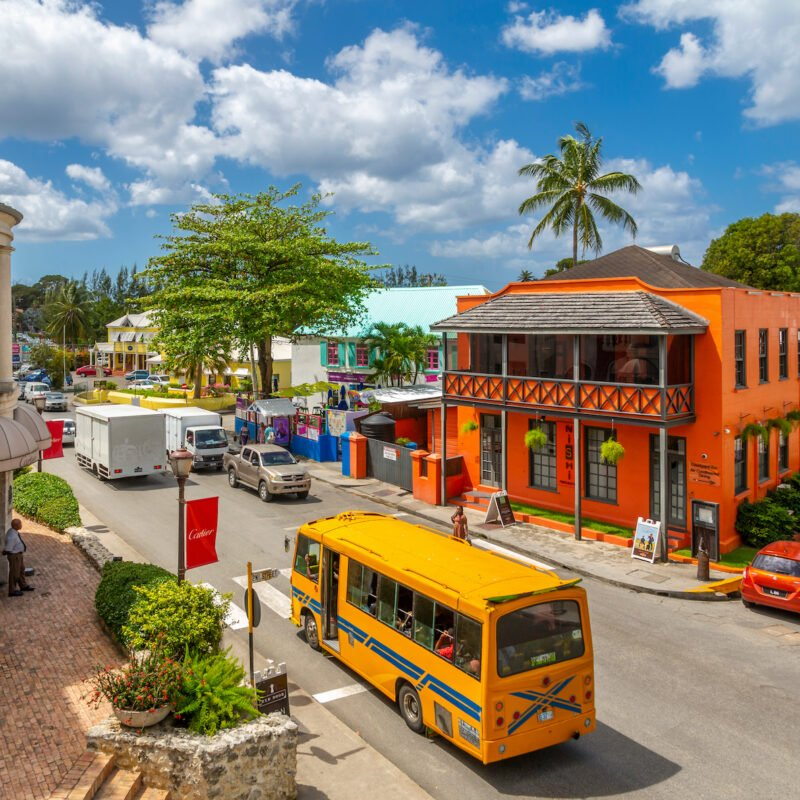 Vibrant buildings in Barbados.