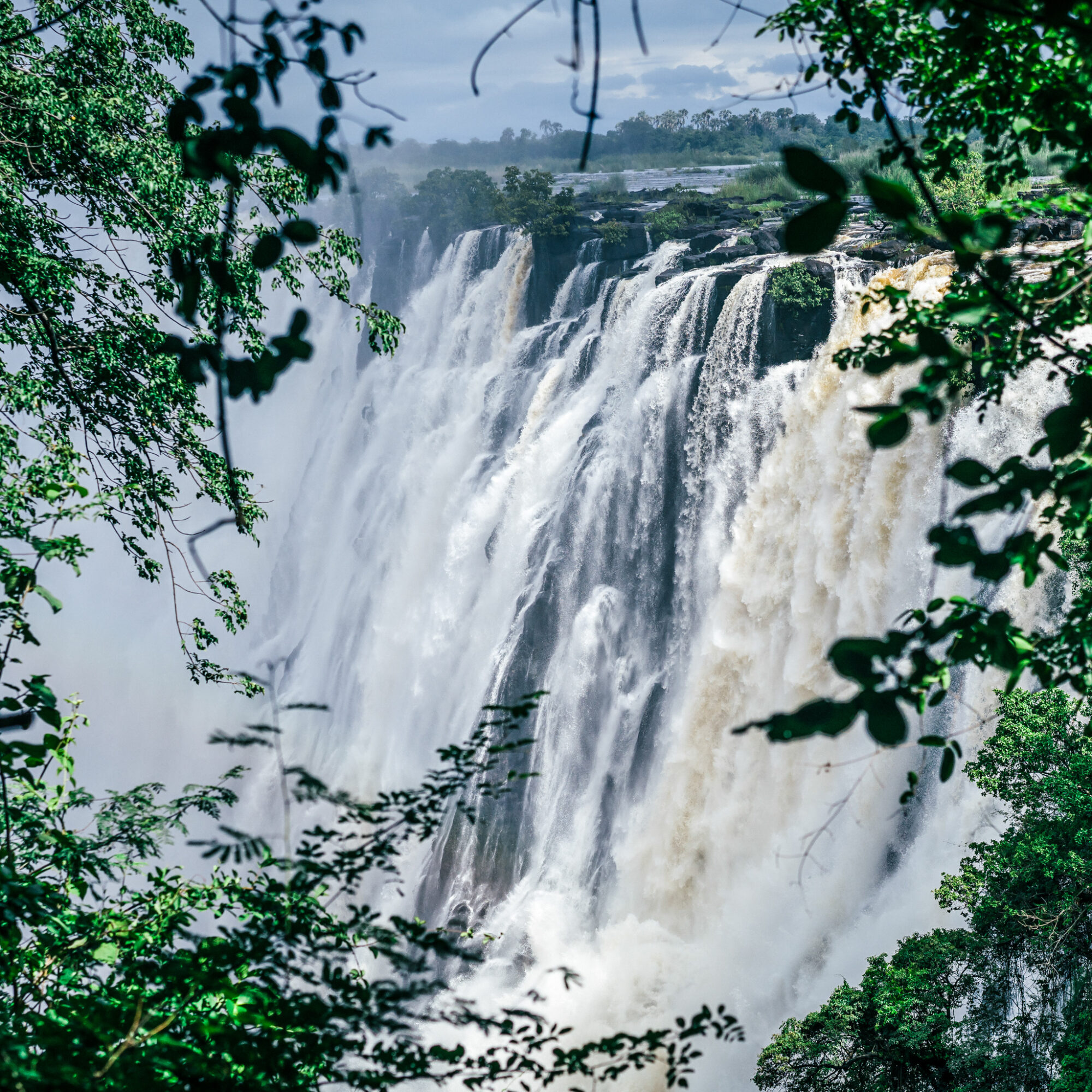 Victoria Falls on the border between Zambia and Zimbabwe.