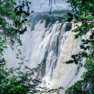 Victoria Falls on the border between Zambia and Zimbabwe.